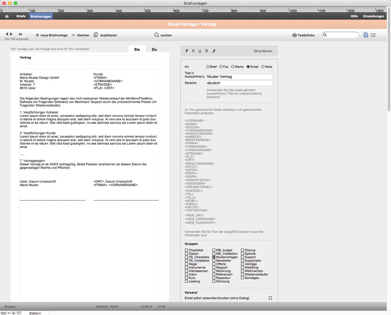 Korrespondenzmodul – Detailansicht Briefvorlagen